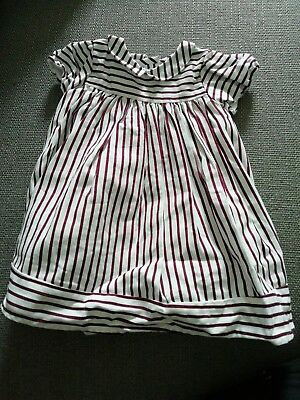M&S Autograph Girls Maroon White Stripe Dress with Peter Pan Collar