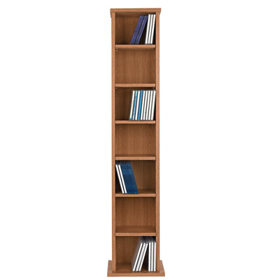 Tall CD And DVD Media Storage Tower - Oak Look, Books Shelves Wooden Unit Rack