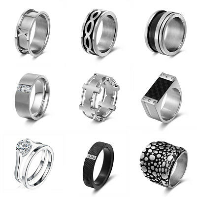 Stainless Steel Fashion Women Men Punk Biker Band Ring Silver Jewelry Size 5-11