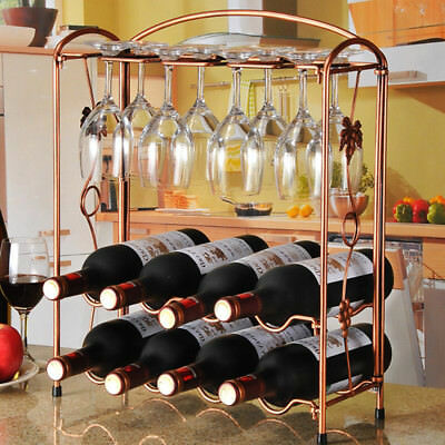 Metal Wine Bottle Rack Glasses Holder Storage Table Top Kitchen Bar Organizer