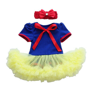 Baby Girls Snow White Romper Dress Headband Tutu Outfits Halloween Costume Photo