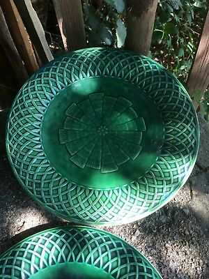 Beautiful Minton Majolica Green Basket Weave Cake Stand