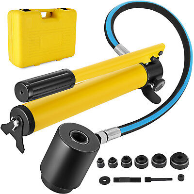 "10T 2"" Hydraulic Knockout Punch Hand Pump 6 Dies Hole Tool Driver Kit w/ Case"