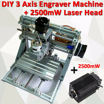DIY 3 Axis Mini CNC Milling Engraving Machine Kit + 2500mw Laser Engraver Head