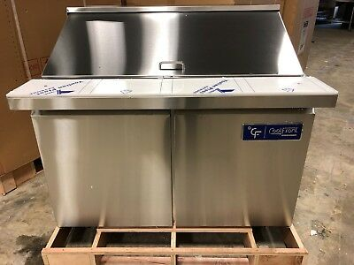 "NEW CoolFront 48"" 2 Two Door Mega Top Refrigerated Sandwich Prep Table NEW"