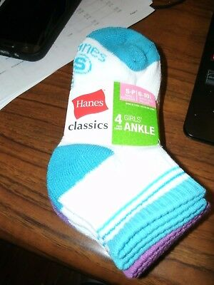 Hanes Girls' 4 Pack Classics Low-Cut Ankle Socks - Size Small - NWT!