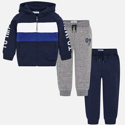 Mayoral Boys Fleece Tracksuit with 2 Pairs Joggers In Navy/Grey  (0043) Aged 2-8