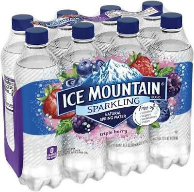 Ice Mountain Sparkling Natural Spring Water. Triple Berry. Free Shipping!
