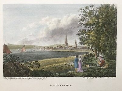 1795 Antique Print; View of Southampton, Hampshire after John Hassell