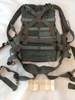 Switlik Military Pack Parachute and Harness Mfg 1956 Includes Inspection Records