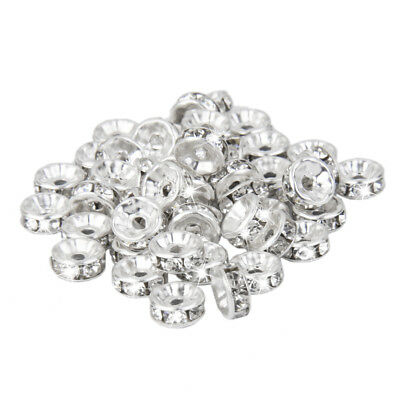 50pieces Silver Plated Czech Crystal Rhinestone Rondelle Spacer Beads 6mm