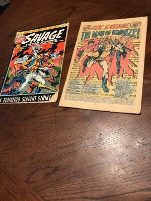 Doc Savage The Man of Bronze 1972 Lot of 2 The Feathered Serpent Strikes