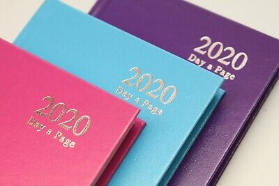 2019 A6 Day A Page Hardback Diary & Planner In Pink, Mauve, Light Blue. Free Pen