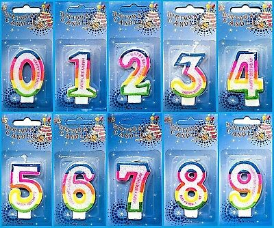 Large Big Number Candles Happy Birthday Anniversary Celebration Cake Topper 0-9