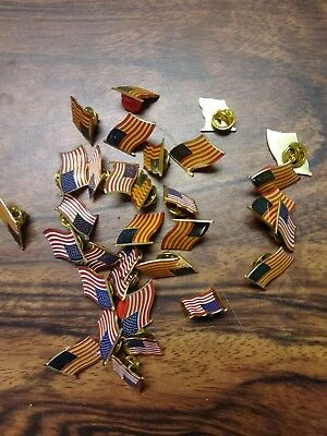 American Flag Hat, Lapel or Tie Pins Lot of 32 Misc.