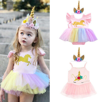 Unicorn Baby Girls Romper Tutu Dress Headband Outfits Birthday Halloween Costume