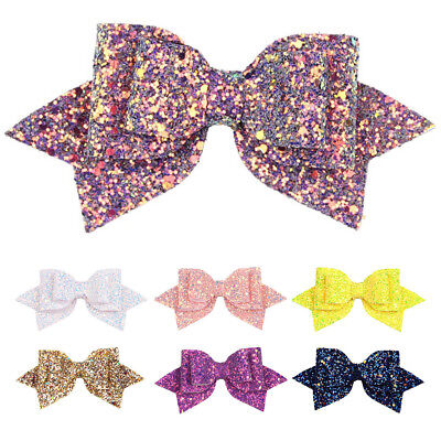 Children Barrettes Sequin Hair Accessories Bows Leather Clips Hairpin