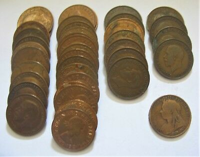 Large Mixed Lot of Great Britain Old Bronze Pennies 1895-1967 NICE!