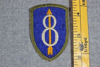 US WW2 Army 8th Infantry Division Patch Cut Snowy Back OD Border Patch OA245