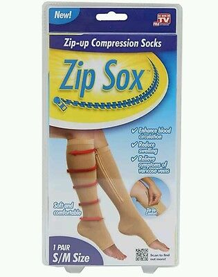 New 1 Pair  Zip-Up​ Compression Socks By Zip Sox Size S/m Beige Doft & Comfy