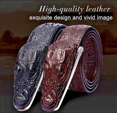 Genuine Cow Leather 3D Crocodile Alligator Skin Shape Buckle Men Belt Brown Croc