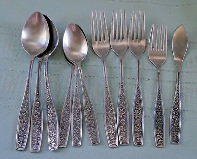 11 Pc. Lot Vintage JAPAN Stainless Steel Flatware  Abstract Stars - Leaves?