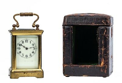A 19th Century Miniature 8 Day French Case Covered Carriage Clock