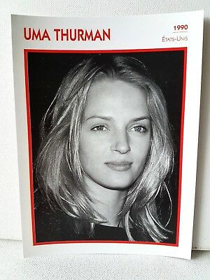 UMA THURMAN 1990 Actor Movie FRENCH ATLAS PHOTO BIO CARD