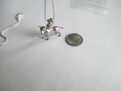 Bull Terrier Pendant with Chain..STERLING SILVER..Bone Clasp..New.Great Detail