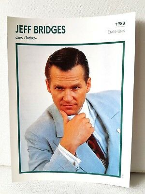 JEFF BRIDGES 1988 Actor Movie FRENCH ATLAS PHOTO BIO CARD Tucker