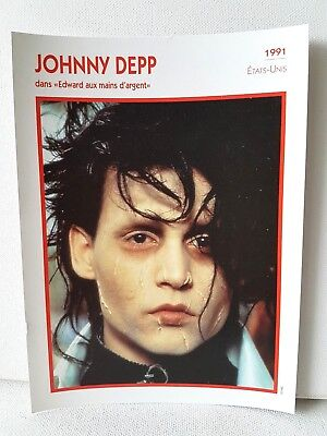 JOHNNY DEPP 1991 Actor Movie FRENCH ATLAS PHOTO BIO CARD Edward Scissorhands