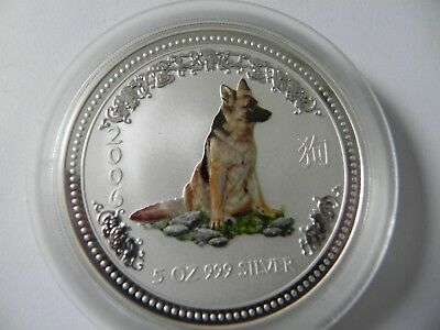 2006 Year of the Dog - Colorized  - 5 oz. 999 Fine Silver Round - Perth Mint