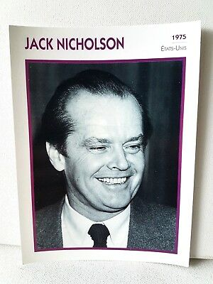 JACK NICHOLSON 1975 Actor Movie FRENCH ATLAS PHOTO BIO CARD