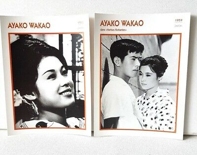 Lot 2 AYAKO WAKAO Japan 1955 1959 Actor Movie FRENCH ATLAS PHOTO BIO CARD