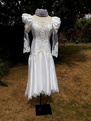 Vintage Lace Wedding Dress Size 8 10with Accessories