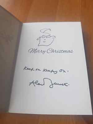Signed Alan  Bennett Christmas Card With Art Work Charity Auction Self Portrait