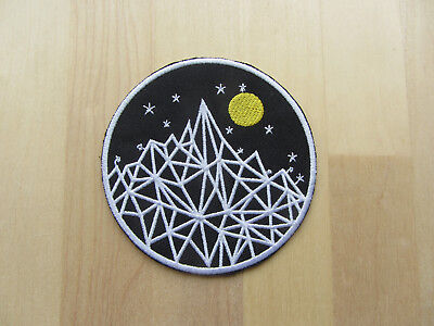 Moon Mountain Patch, Iron On Badge Embroidered Nature Adventure Hiking Patch