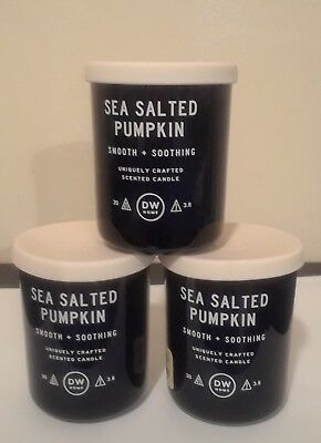 Lot Of 3 Dw Home Sea Salted Pumpkin Scented Candles 8 Oz Each