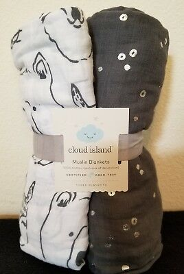 Cloud Island Baby Muslin Swaddle Blankets 100% Cotton gray grey white