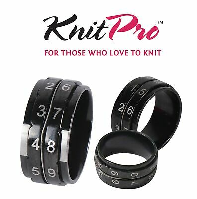 KnitPro Row Counter Ring Jewellery Knit Tally Register - 4 Sizes - Black Metal