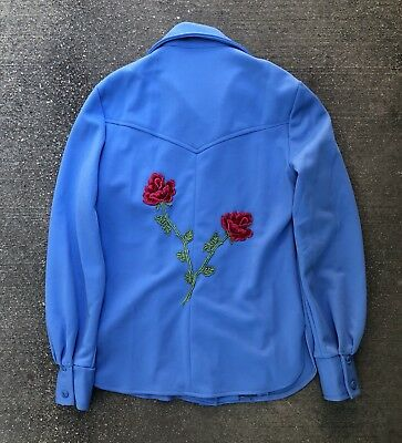 Vintage 70s Women's Embroidered Polyester Floral Western Shirt cowboy rockabilly
