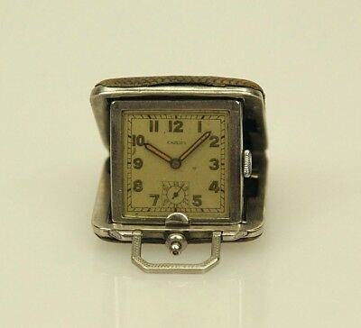 Miniature ESZEHA / CHOPARD Art Deco Leather travel clock Uhr pocket watch RAR