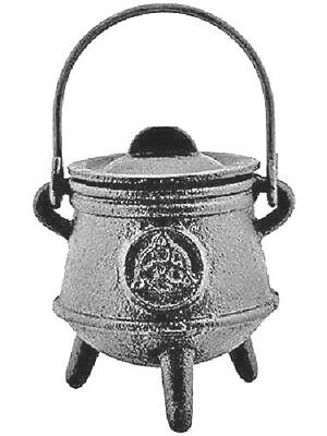 Cast Iron Cauldron with Lid, Triquetra Symbol, 4 1/2inch #OMI-CAL07