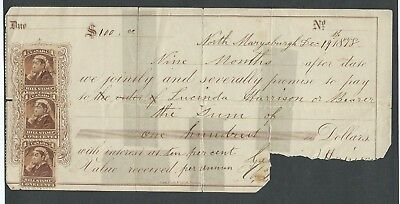 1878 Promissory Note, 3 bill stamps