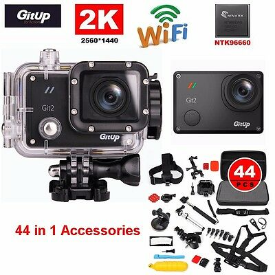 Gitup Git2 Pro Wireless WiFi 2K Helemet Sports Camera Cam +44in1 Accessories Kit
