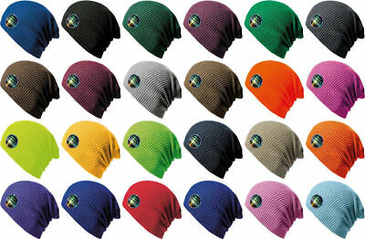 Beanie Hat Mens Ladies Knitted Woolly Softex Oversize Slouch Cap Neon