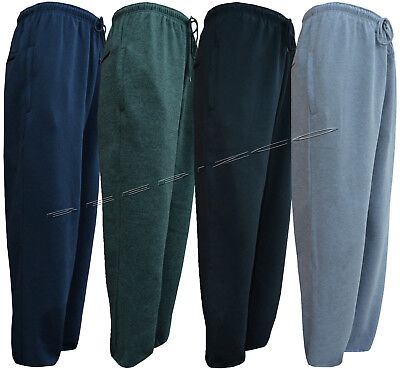 New Mens Jogging Bottom Fleece Joggers Open Hem With Zip Pockets 3XL - 5XL