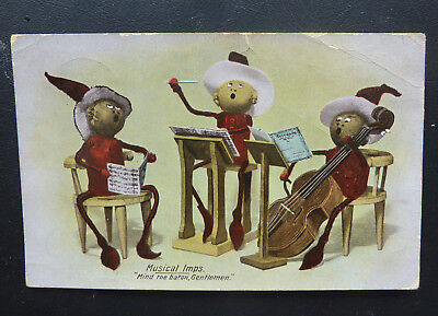 "Postcard- Musical Imps ""Mind the baton, Gentlemen""- Posted 1911"