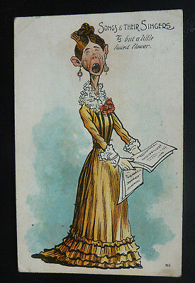 "Comic Postcard-Lady Singing ""Songs & Their Singers"" National Series- Posted 1905"