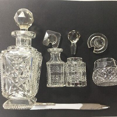4 Pieces Of Cut Glass Vgc
